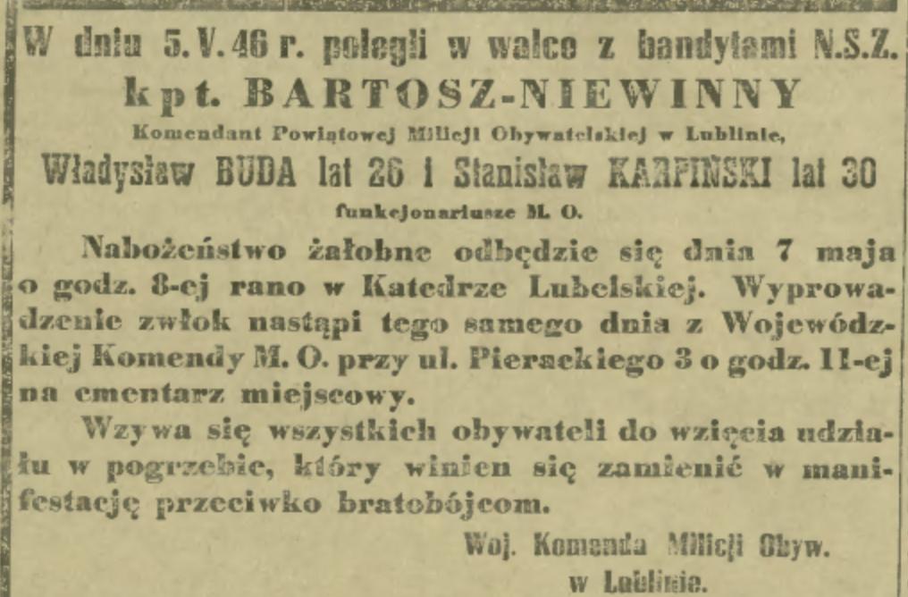 """Nekrolog kpt. Bartosza Niewinnego w """"Gazecie Lubelskiej"""""""